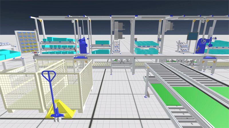 """Mit der Software von R3DT werden komplette Montageanlagen von Schnaithmann virtuell """"wie in echt"""" erlebbar"""